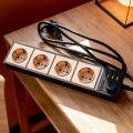 Werkel Розеточный блок 4-х местный + 3 USB черный/шампань рифленый W6514944