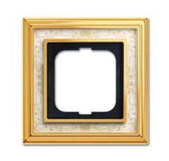 Рамка 1-постовая ABB Dynasty латунь полированная/белая роспись 2CKA001754A4570