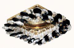 Точечный светильник LFlash LFSQ024-A/BK G (4141) квадрат золото/черно-белый хрусталь MR16*50W