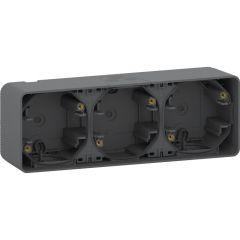 Schneider Electric MUREVA S ТРОЙНОЙ БОКС для накладного монтажа горизонтальный, АНТРАЦИТ, IP55
