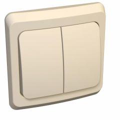 Выключатель Schneider Electric ЭТЮД 2х-клав. С/У с подсвет. 10АX/250B КРЕМОВЫЙ