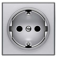Лицевая панель ABB Sky розетки Schuko с/з серебристый алюминий 2CLA858800A1301