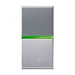 Выключатель кнопочный одноклавишный ABB Zenit 16A 250V с подсветкой серебро N2104.5 PL