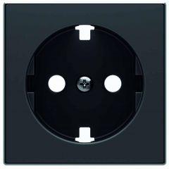Лицевая панель ABB Sky розетки Schuko с/з чёрный бархат 2CLA858890A1501