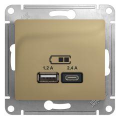 Schneider Electric GLOSSA USB РОЗЕТКА A+С, 5В/2,4А, 2х5В/1,2 А, механизм, ТИТАН