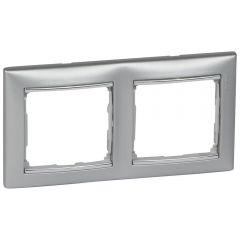 Рамка 2-постовая Legrand Valena алюминий/серебряный штрих 770352