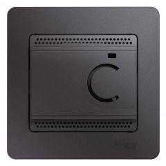 Schneider Electric GLOSSA ТЕРМОСТАТ электрон.теплого пола с датчиком, +5-+50°C,10A,в сборе, ГРАФИТ