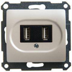 Schneider Electric GLOSSA USB РОЗЕТКА, 5В /1400 мА, 2 х 5В /700 мА, механизм, ПЕРЛАМУТР