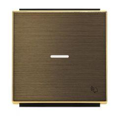 Лицевая панель ABB Sky выключателя одноклавишного с подсветкой Звонок античная латунь 2CLA850430A1201