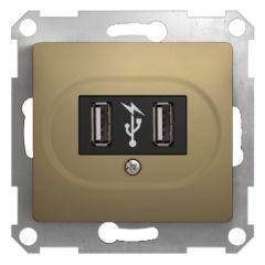 Schneider Electric Glossa, USB розетка, 5 В постоянный ток, титан