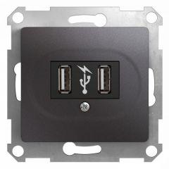 Schneider Electric GLOSSA USB РОЗЕТКА, 5В /1400 мА, 2 х 5В /700 мА, механизм, ГРАФИТ