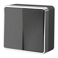Werkel Выключатель двухклавишный Gallant (графит рифленый) W5020004