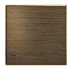 Лицевая панель ABB Sky розетки Schuko с/з с крышкой античная латунь 2CLA858810A1201