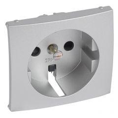 Лицевая панель Legrand Valena розетки 2К+З со шторками алюминий 770257