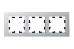 Schneider Electric ATLASDESIGN NATURE 3-постовая РАМКА, ОРГАНИЧЕСКОЕ СТЕКЛО АЛЮМИНИЙ