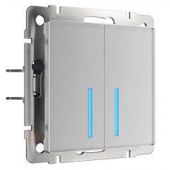 Werkel Сенсорный выключатель двухклавишный с подсветкой (серебряный) W4520106