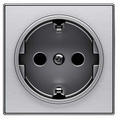 Лицевая панель ABB Sky розетки Schuko с/з нержавеющая сталь 2CLA858800A1401