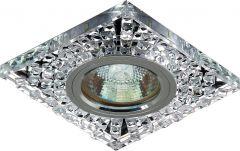 Точечный светильник De Fran FT 931 с торцевой светодиодной подсветкой хром зеркальный + стразы прозрачные 3000К LED/MR16