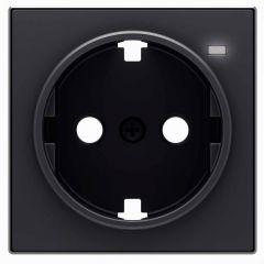 Лицевая панель ABB Sky розетки Schuko с/з с подсветкой чёрный бархат 2CLA858880A1501