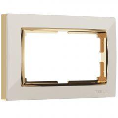 Werkel Рамка для двойной розетки (слоновая кость/золото) W0081932