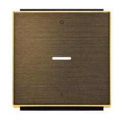 Лицевая панель ABB Sky выключателя одноклавишного с подсветкой символом I/O античная латунь 2CLA850140A1201