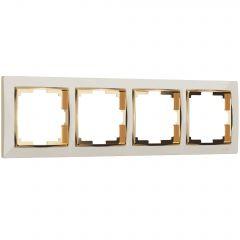 Werkel Рамка на 4 поста (слоновая кость/золото) W0041932