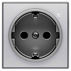 Лицевая панель ABB Sky розетки Schuko с/з с подсветкой нержавеющая сталь 2CLA858880A1401