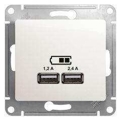 Schneider Electric GLOSSA USB РОЗЕТКА A+С, 5В/2,4А, 2х5В/1,2 А, механизм, ПЕРЛАМУТР