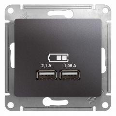Schneider Electric GLOSSA USB РОЗЕТКА A+A, 5В/2,1 А, 2х5В/1,05 А, механизм, ГРАФИТ