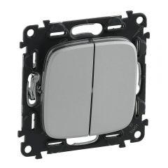 Выключатель двухклавишный Legrand Valena Allure 10A 250V алюминий 752905