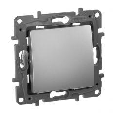 Выключатель кнопочный одноклавишный Legrand Etika 6A 250V алюминий 672414