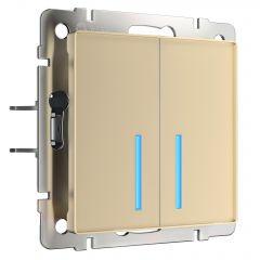 Werkel Сенсорный выключатель двухклавишный с функцией Wi-Fi (шампань) W4520611