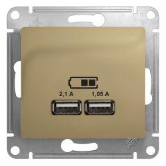 Schneider Electric GLOSSA USB РОЗЕТКА A+A, 5В/2,1 А, 2х5В/1,05 А, механизм, ТИТАН