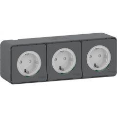 Schneider Electric MUREVA S Блок из трех розеток с з/к, шт., 16А, 250В, винтов., АНТРАЦИТ, IP55