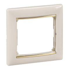 Рамка 1-постовая Legrand Valena слоновая кость/золотой штрих 774151
