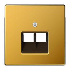 Накладка 2-ой наклонной телефонной/компьютерной розетки Jung LS 990 золото LS969-2UAGGO