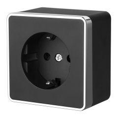 Werkel Розетка с заземлением и шторками Gallant (черный/хром) W5071135