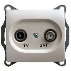 Schneider Electric GLOSSA TV-SAT РОЗЕТКА проходная 4DB, механизм, ПЕРЛАМУТРОВЫЙ