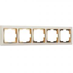 Werkel Рамка на 5 постов (слоновая кость/золото) W0051932