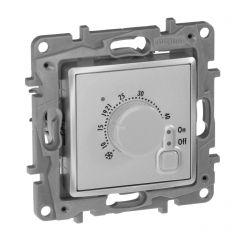 Термостат Legrand Etika с внешним датчиком для тёплых полов алюминий 672430