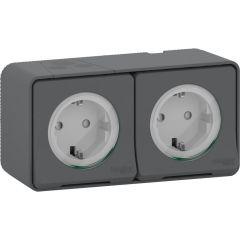 Schneider Electric MUREVA S Блок из двух розеток с з/к и шт. 16А, 250В, безвинтов., АНТРАЦИТ, IP55