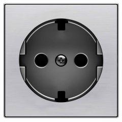 Лицевая панель ABB Sky розетки Schuko с/з нержавеющая сталь 2CLA858890A1401