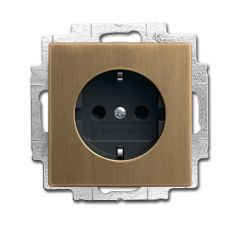 Розетка ABB Dynasty Schuko с/з 16A 250V со шторками подсветкой безвинтовой зажим латунь античная/антрацит 2CKA002013A5399