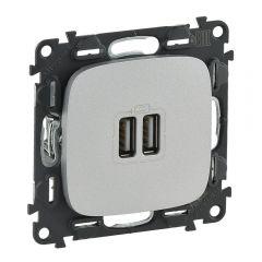 Розетка USB двойная Legrand Valena Allure 240V/5V 1500mA алюминий 754997