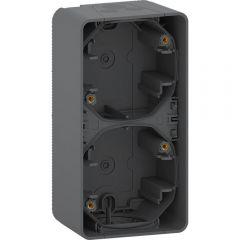 Schneider Electric MUREVA S ДВОЙНОЙ БОКС для накладного монтажа вертикальный, АНТРАЦИТ, IP55