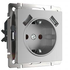 Werkel Розетка с заземлением, шторками и USBх2 (серебряный) W1171506