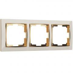 Werkel Рамка на 3 поста (слоновая кость/золото) W0031932