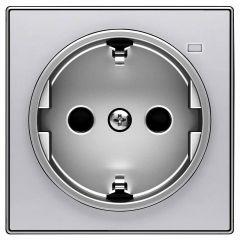 Лицевая панель ABB Sky розетки Schuko с/з с подсветкой серебристый алюминий 2CLA858880A1301
