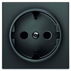 Лицевая панель ABB Sky розетки Schuko с/з чёрный бархат 2CLA858800A1501