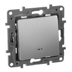 Переключатель одноклавишный Legrand Etika с подсветкой 10A 250V алюминий 672415
